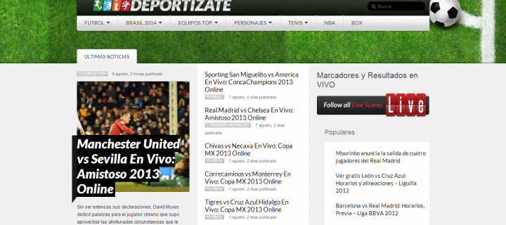 Deportízate – Diseño y Desarrollo web