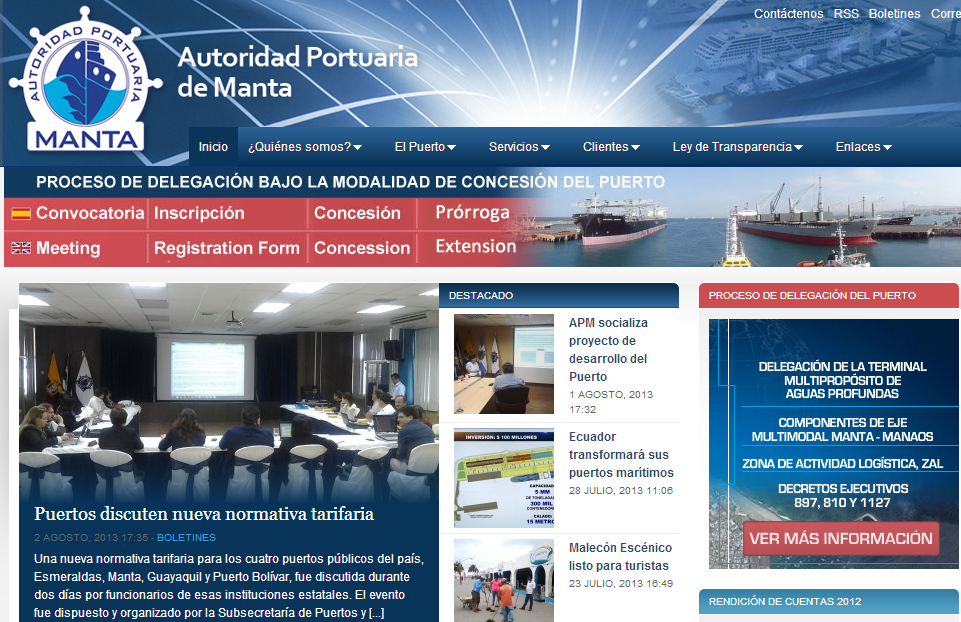 diseño web - autoridad portuaria